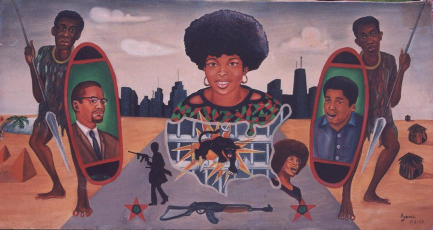Zolo Azania is an accomplished artist despite his incarceration.  Here he depicts Black Warriors including Assata Shakur (center).