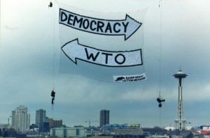 Anti-WTO Banner Drop in Seattle.