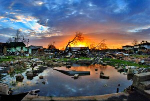 [Hurricane Katrina aftermath at sunrise] Photo by Donn Young