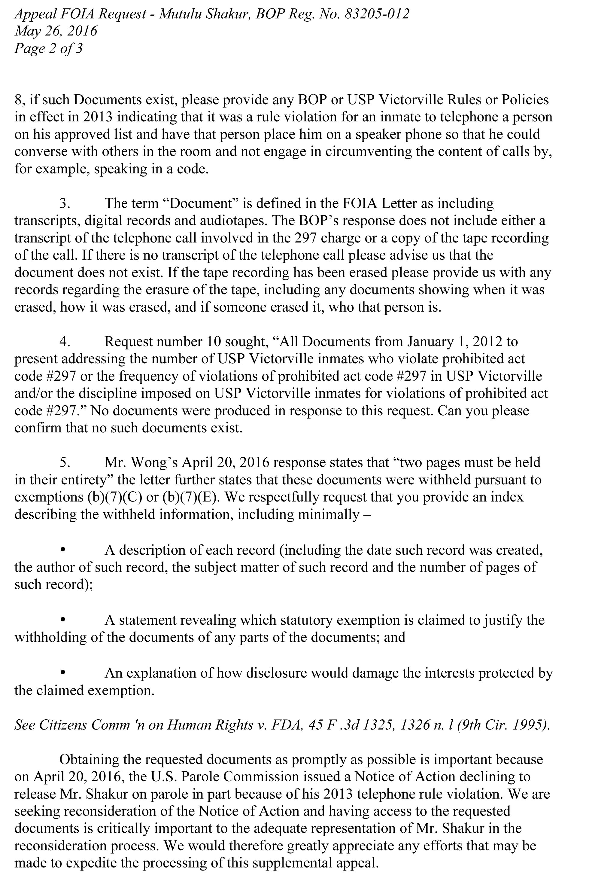 Microsoft Word - 05-25-16 FOIA Response to Released Docs Re Appe